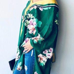 Tops - Floral Print Summer Poncho Kimono Cardigan
